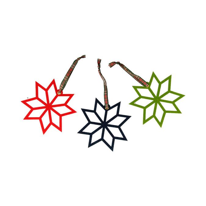 Décoration de sapin Etoile en feutrine 11 cm Noël Ecossais - 3 pcs