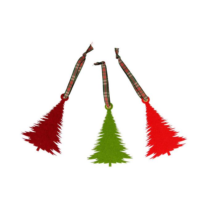 Décoration de sapin en feutrine 10 x 7 cm Noël Ecossais - 3 pcs
