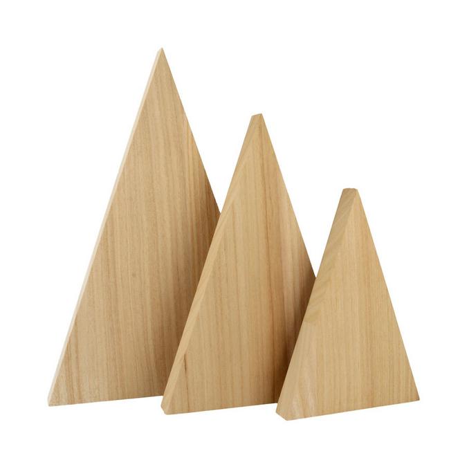 Triangle en bois 10,5 à 17,7 cm - 3 pcs