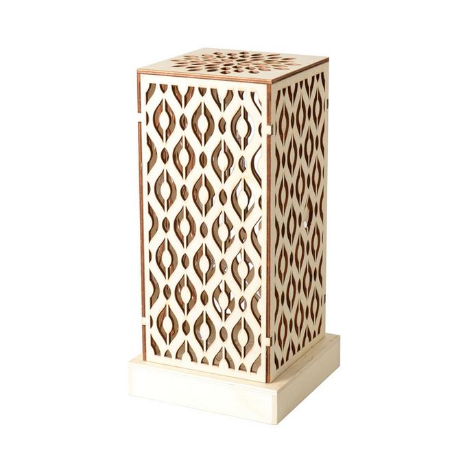 Lampe en bois à LED 14 x 28,5 x 14 cm