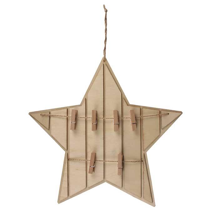 Décoration en bois à suspendre Pêle-mêle Etoile Ø 27,5 cm