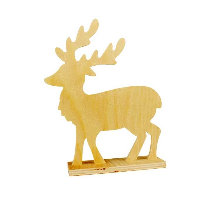 Décoration en bois à poser Cerf 20 x 16,5 x 5 cm