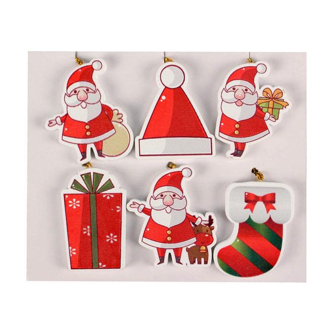 Décoration en bois peint à suspendre Noël 4 à 6 cm - 6 pcs