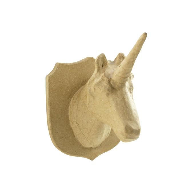 Trophée Licorne en papier mâché 21 cm