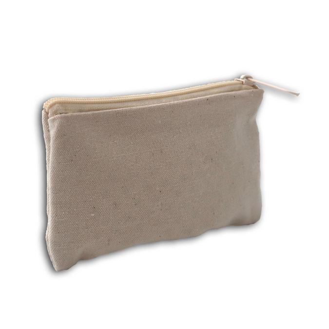 Trousse plate 100 % coton Blanc cassé 12 x 7,5 cm