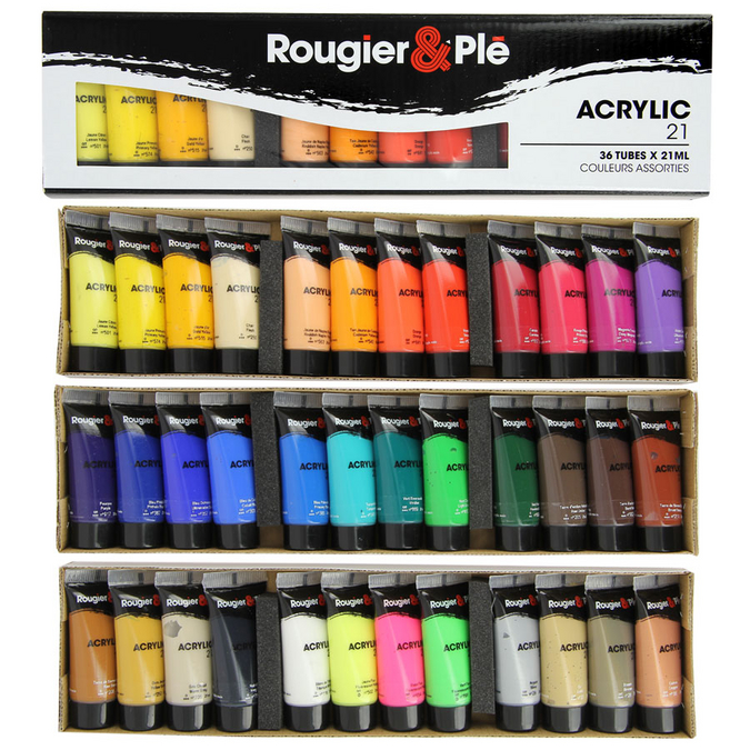 Peinture acrylique 21 ml Boite de 36 tubes