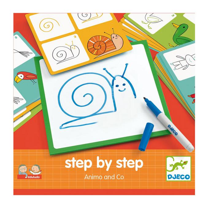Jeu éducatif Apprendre à dessiner Step by step Animals and Co