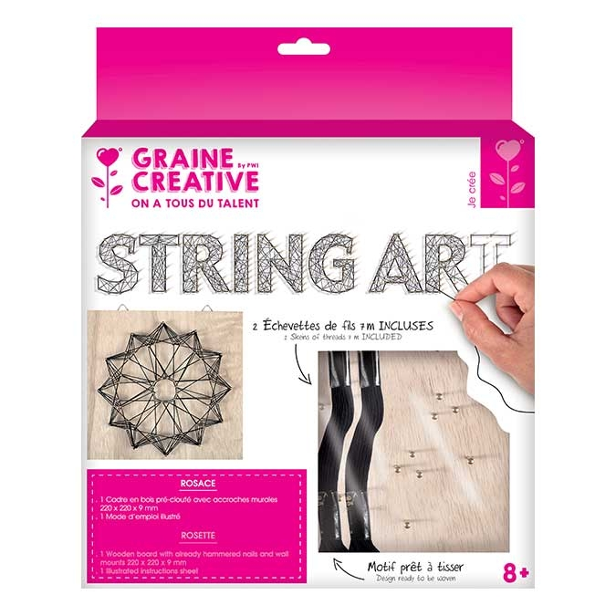 Tableau String Art set Rosace support 22 x 22 cm
