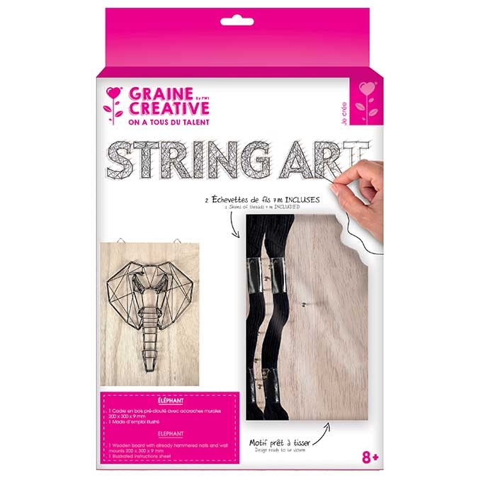 Tableau String Art set Éléphant support 20 x 30 cm