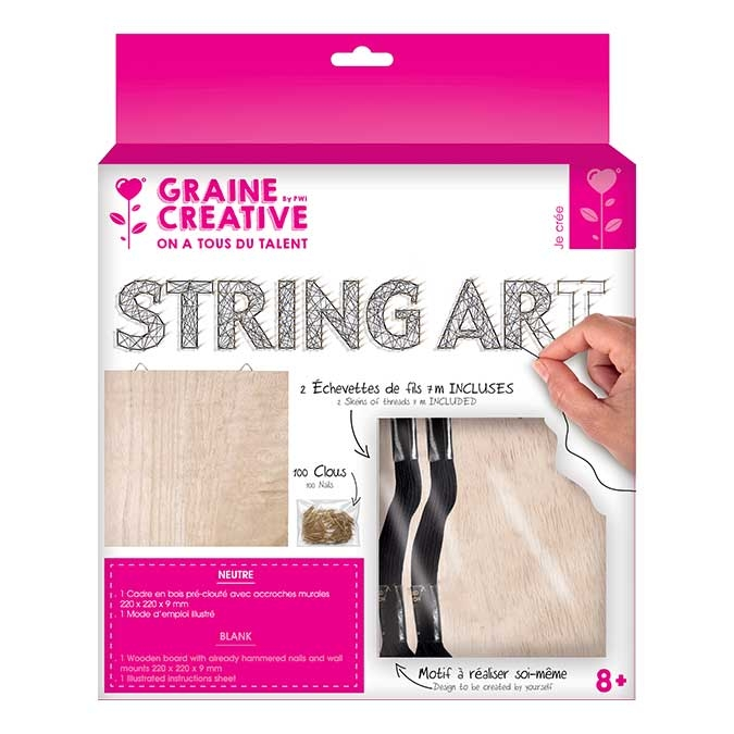 Tableau String Art set Neutre support 22 x 22 cm + 100 clous