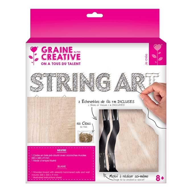 Tableau String Art set Neutre support 22 x 22 cm + 100 clous