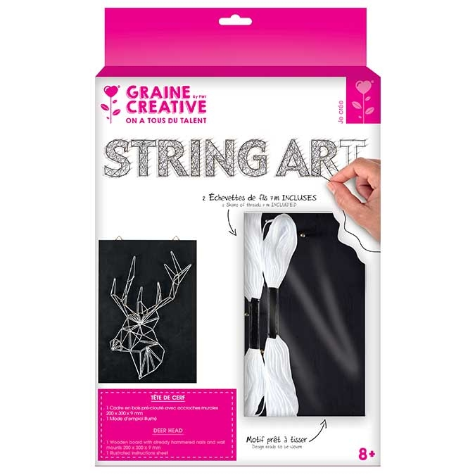 Tableau String Art set Tête de cerf support 20 x 30 cm