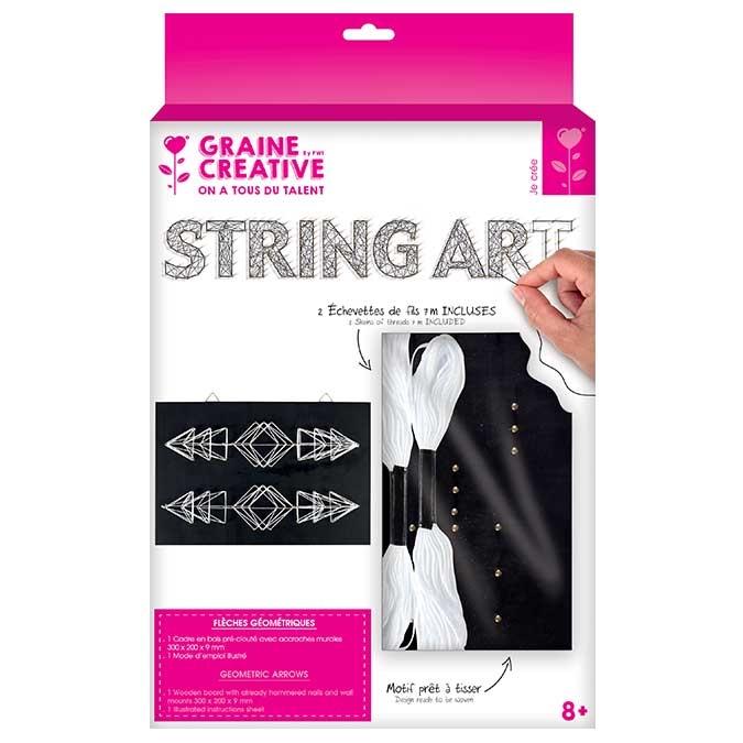 Tableau String Art set Flèches géométriques support 22 x 22 cm