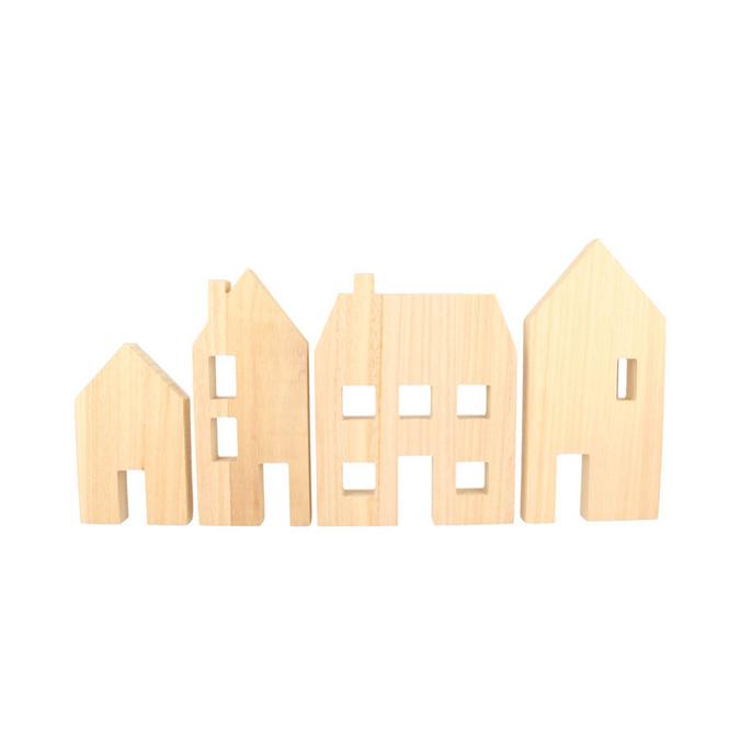 Maison en bois à poser 13 à 20 cm - 4 pcs