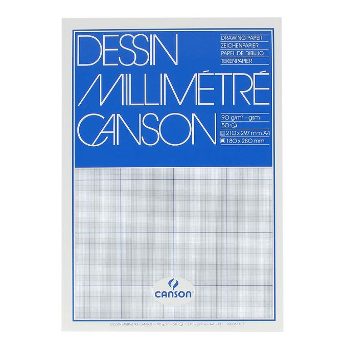 Papier millimétré bloc de 50 feuilles Bleu A4