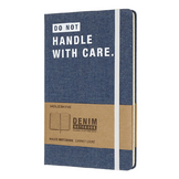 Carnet Denim Pages lignées 13 x 21 cm Do Not handle with Care