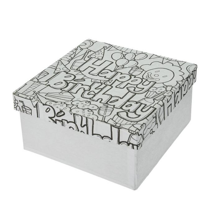 Boîte Happy Birthday en papier mâché Doodle Art 14 x 14 x 7 cm
