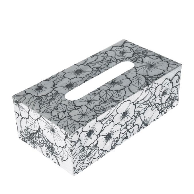Boîte à mouchoir Hibiscus en papier mâché Doodle Art 24 x 12,5 x 8 cm