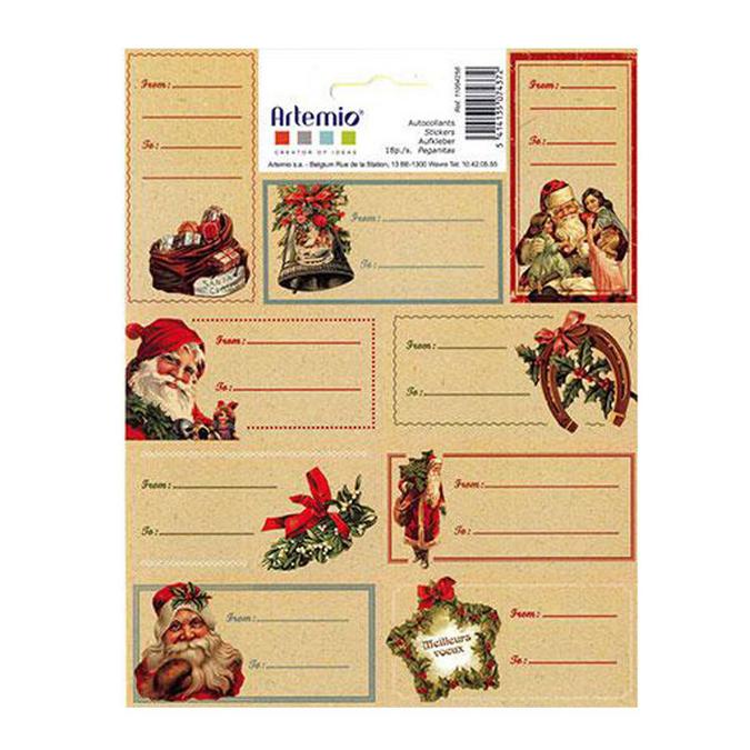 Etiquettes cadeaux Noël à l'ancienne 7,5 x 3,5 cm