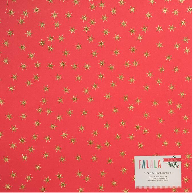 Papier spécial Falala Christmas rouge pailleté rouge