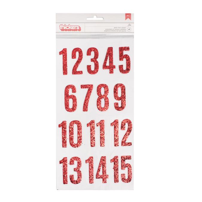 Chiffres Thickers en carton pailleté rouge Merry Merry x 41 pcs