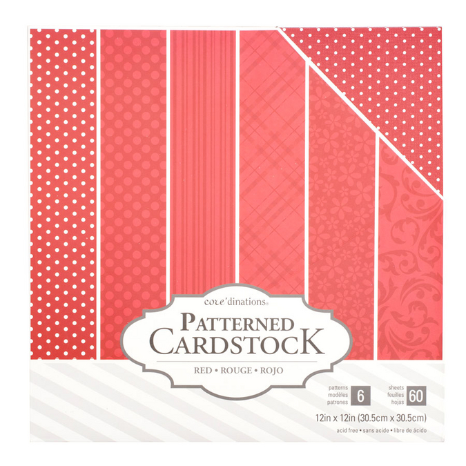 Papier assorti Core'dinations rouge x 60 feuilles