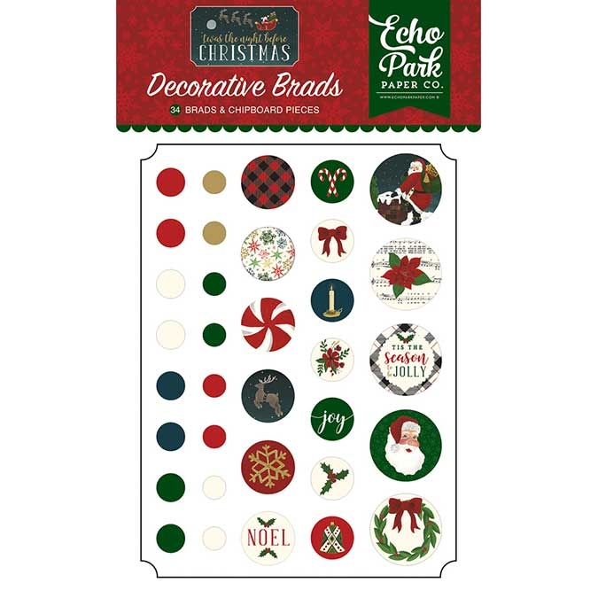 Attaches parisiennes Twas The Night Before Christmas x 34 pcs