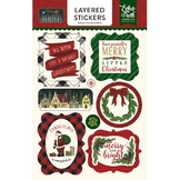 Stickers 3D Twas The Night Before Christmas x 8 pcs