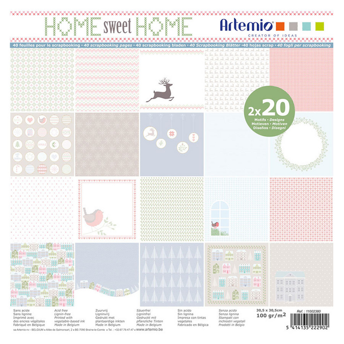 Papiers assortis Home Sweet Home 30 x 30 cm