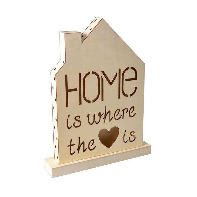 Lampe en bois à LED Home Sweet Home 33 x 43 x 4,4 cm