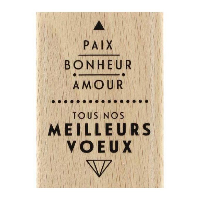 Tampon en bois Paix et Amour 5 x 7 cm