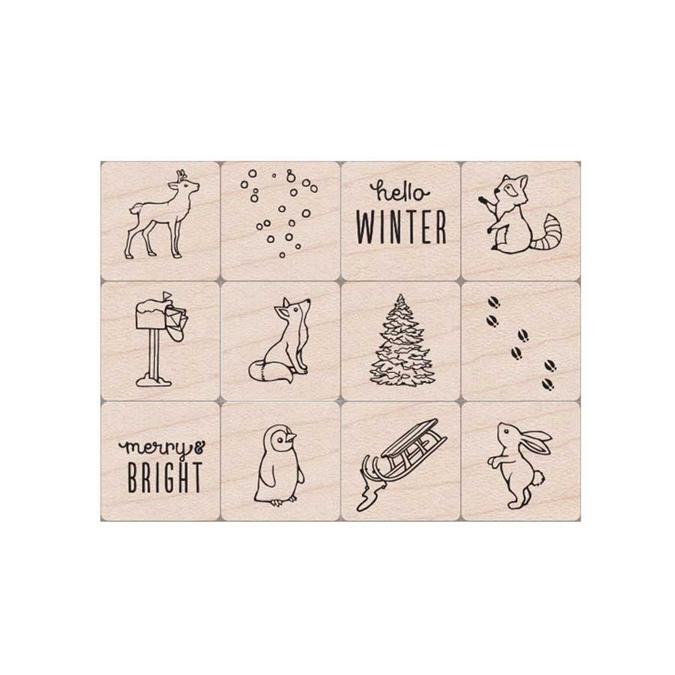 Tampons en bois Kit animaux hivernaux