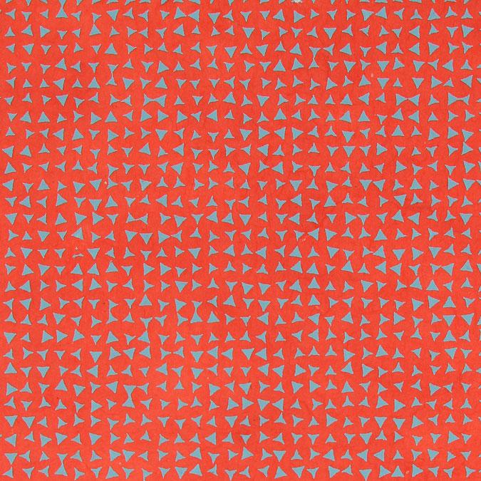 Papier Lokta Imprimé 50 x 75 cm Rouge motif Triangle