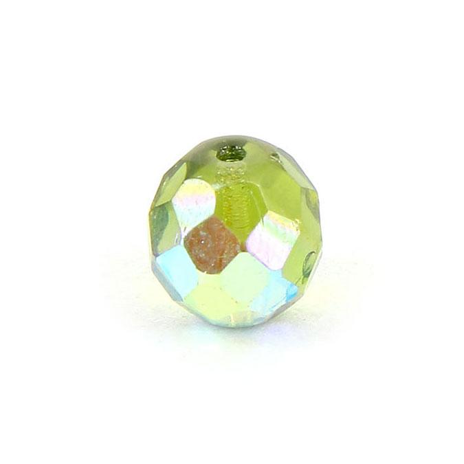 Perle en verre de Bohême ovale à facettes transparente - 9 x 10 mm