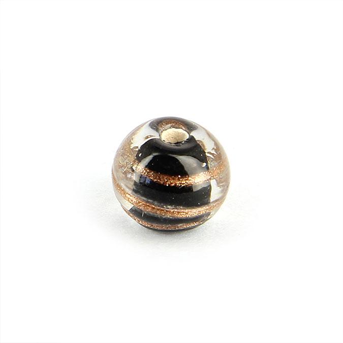 Perle en verre ronde rayée cuivre - 10 mm