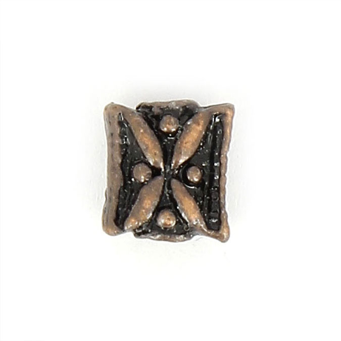 Perle en métal rectangulaire aplatie motif feuille laiton - 7,8 x 9,4 mm