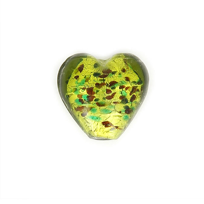 Perle en verre cœur - 19,6 x 27 mm