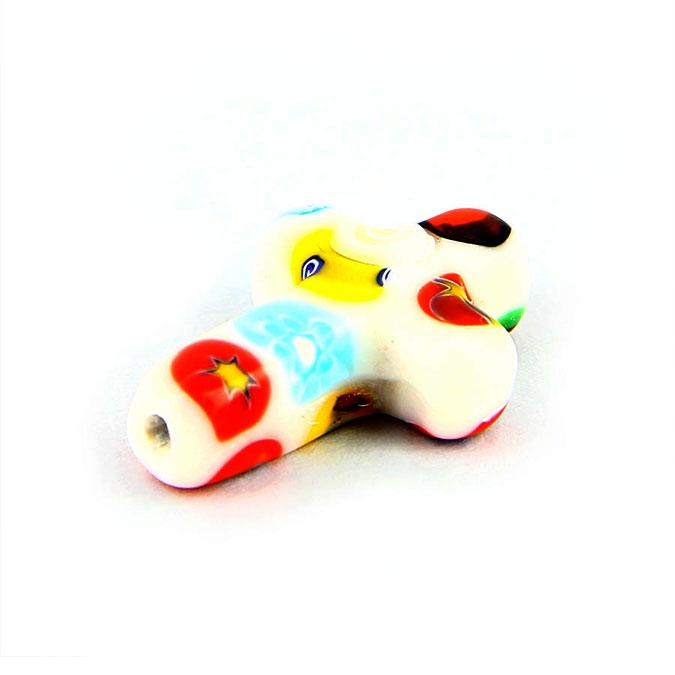 Perle en céramique millefiori croix multicolore blanc - 25 x 23 mm