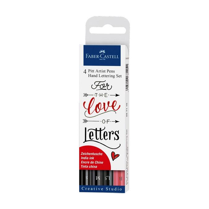Feutre de calligraphie Pitt Artist Pen Set Hand Lettering 3 noirs + Rouge