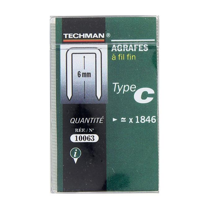 Agrafe 6 mm pour agrafeuse n°21 Techman