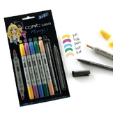 Marqueur à alcool double-pointe Ciao Set manga 5 couleurs n° 1 + Multiliner