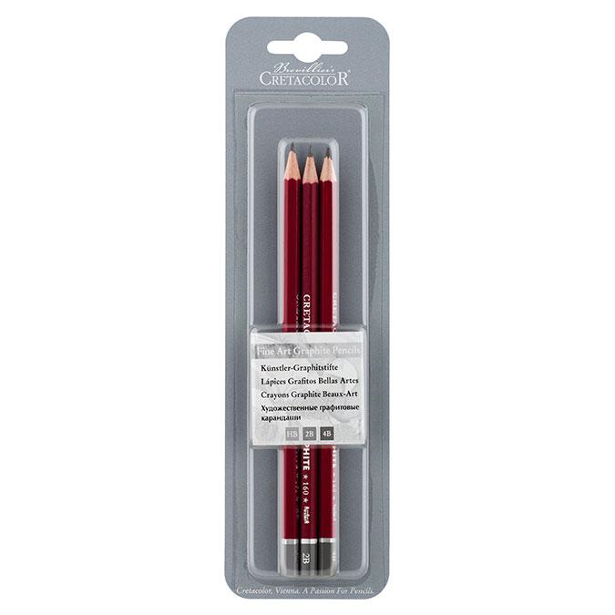 Crayons graphite par 3 - HB, 2B, 4B