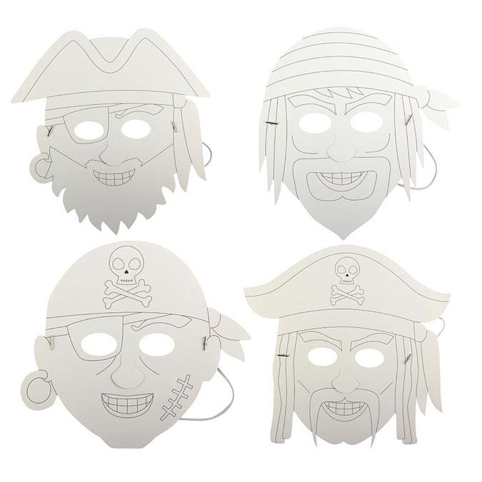 Masque en papier épais Pirate 4 pcs