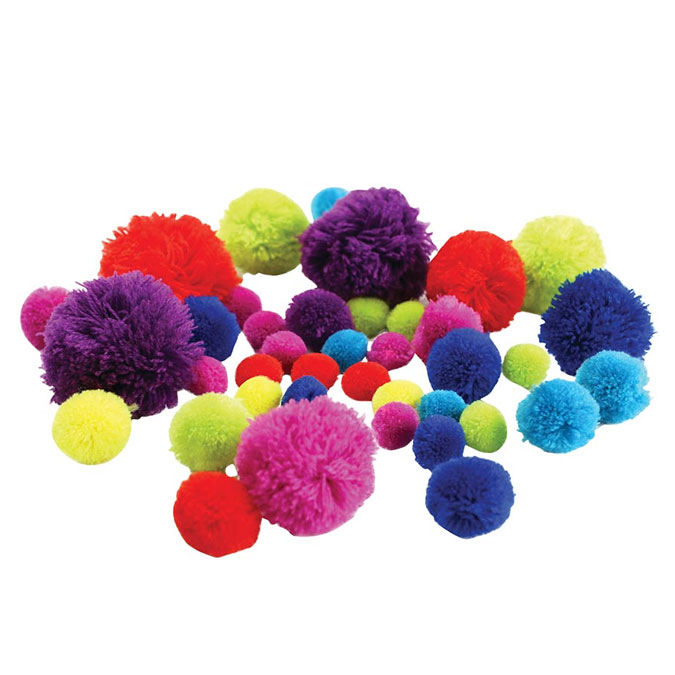 Pompons de couleurs assorties 45 pcs