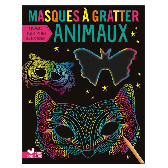 Masques à gratter Animaux pochette de 8 pcs