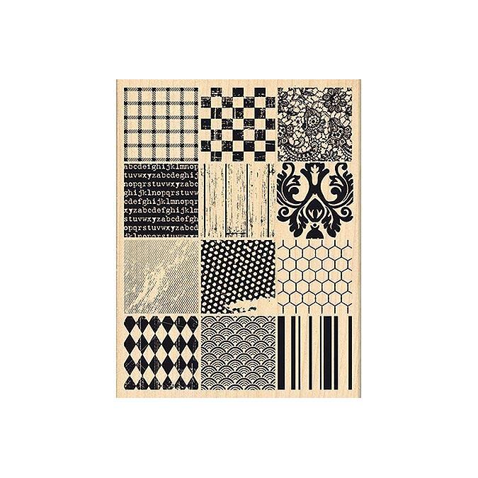 Tampon bois Un brin vintage Patchwork de matières 9,2 x 12,2 cm