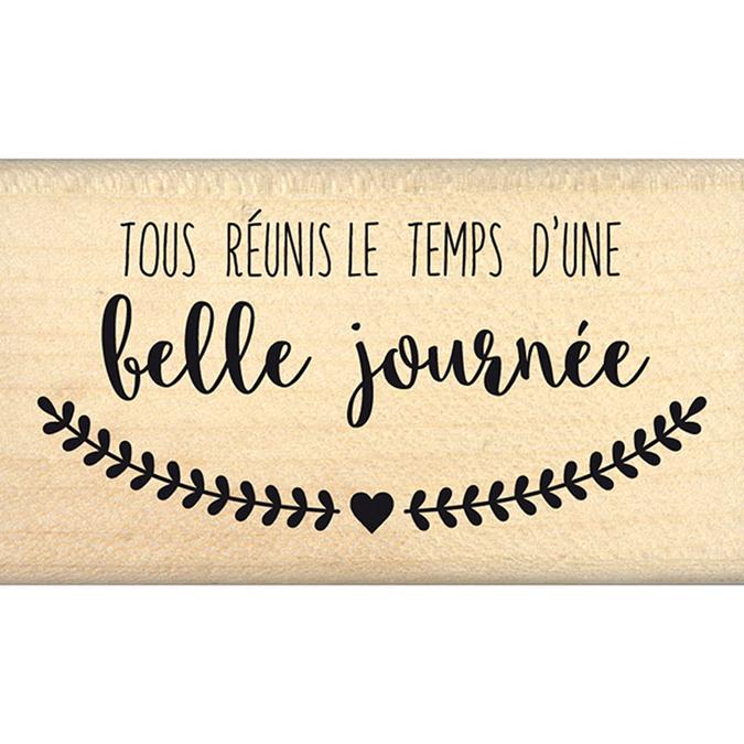 Tampon bois Le parfum du bonheur Tous réunis 4 x 7 cm