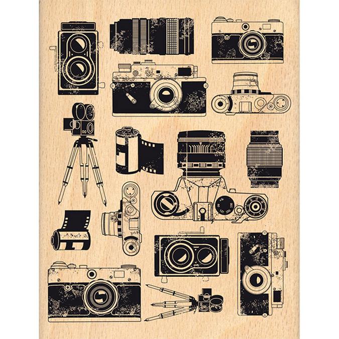 Tampon bois Instants selfie Fond photographique 10 x 13 cm