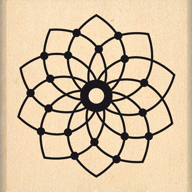 Tampon bois Dakota Valley Petite fleur de rêve 4 x 4 cm