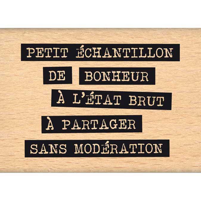 Tampon bois Histoire naturelle Bonheur brut 5 x 7 cm